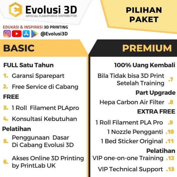 Paket flashforge adventurer 3 evolusi 3d