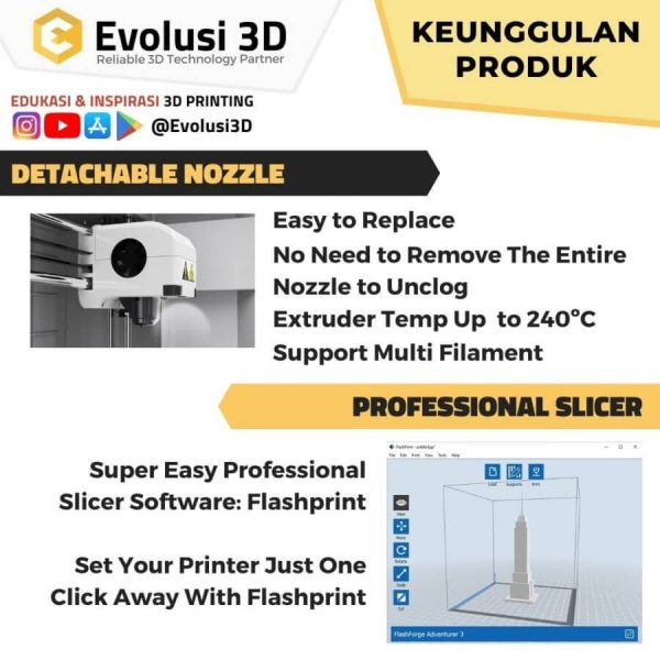 Keunggulan flashforge adventurer 3 evolusi 3d