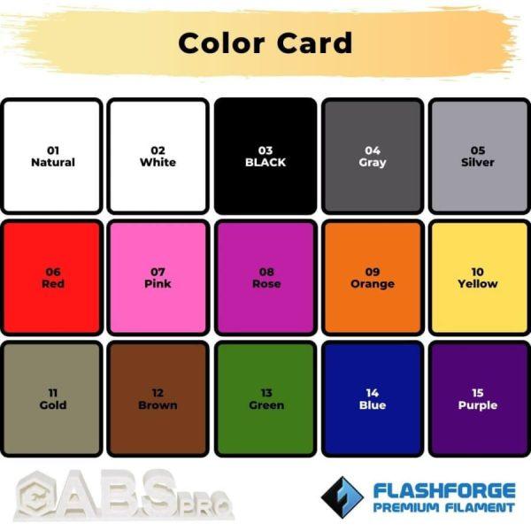Color card premium ABS Pro 1Kg 2.85mm Ultimaker Black
