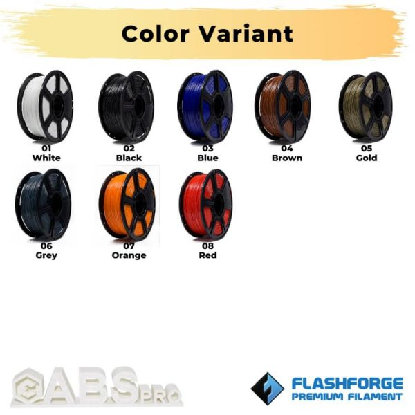 Color Variant ABS Pro 1Kg 1.75mm Filament Hitam