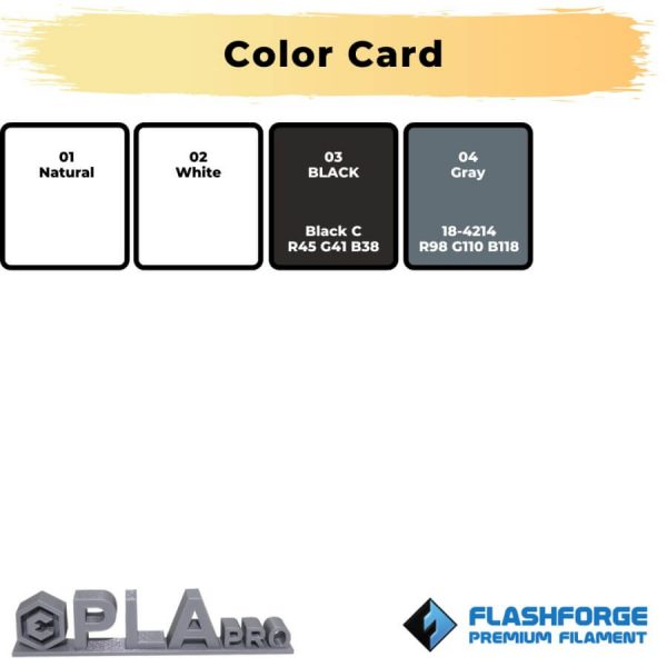 Color card premium PLA Pro