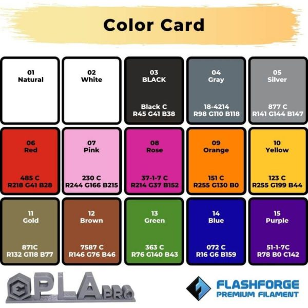 Color Card PLA Pro 1Kg 2.85mm Ultimaker Natural